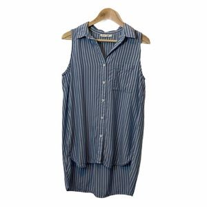 BeachLunchLounge Blue and White Vertical Striped Highlow Button front Tank Top